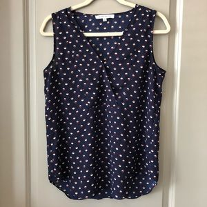 Like new Anthro navy printed top!